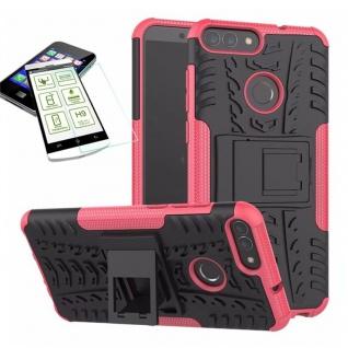 Für Huawei P Smart Hybrid Tasche Case Outdoor 2teilig Pink Hülle + H9 Glas Hülle