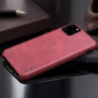 Kunstleder Tasche Hülle Vintage Cover für Apple iPhone 11 Pro Schutzhülle Rot