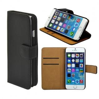 Wallet Tasche Deluxe Schwarz für Apple iPhone 6 4.7 Handy Hülle Zubehör Case - Vorschau 1