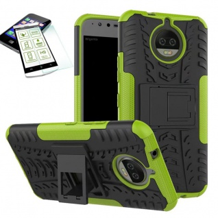 Hybrid Case Tasche Outdoor 2teilig Grün für Motorola Moto G5S Hülle Hartglas