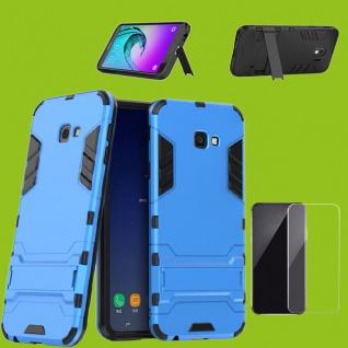 Für Samsung Galaxy J4 Plus J415F Tasche Metal Style Hülle Hellblau 0, 26 H9 Glas