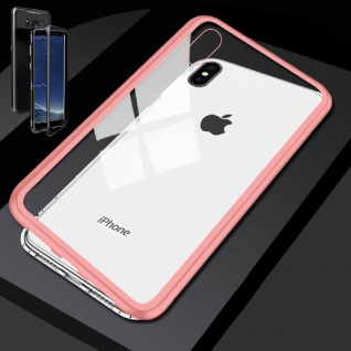 Für Apple iPhone X 10 XS 5.8 Magnet / Metall Glas Rosa / Transparent Tasche Case