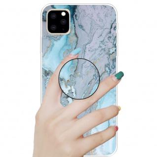 Schutzhülle Cover für Apple iPhone 11 Silver Blue 3D Marble Silikon Tasche Etui