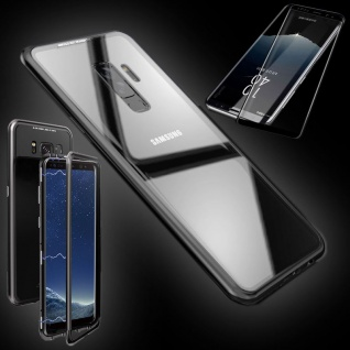 Für Samsung Galaxy S9 Magnet Tasche Transparent Schwarz + 0, 3 4D H9 Glas Hülle