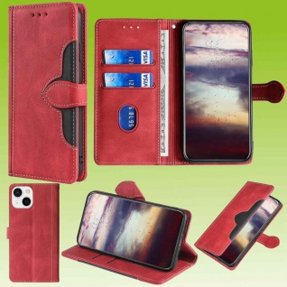 Für Apple iPhone 13 Design Handy Tasche Rot Etuis Schutz Kunst-Leder Hülle Cover