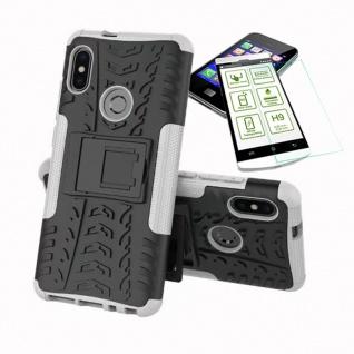 Für Xiaomi Redmi Note 5 Hybrid Tasche Outdoor 2teilig Weiß + H9 Glas Cover Case