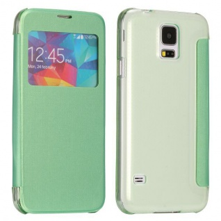 Smartcover Window Grün für Samsung Galaxy S5 Mini G800 A F Tasche Cover Case Neu