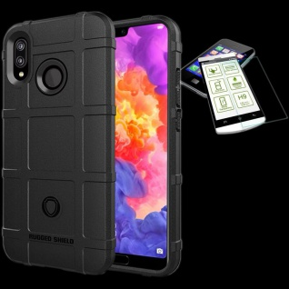 Für Huawei P20 Pro Tasche Shield TPU Silikon Hülle Schwarz + 0, 26 H9 Glas Cover