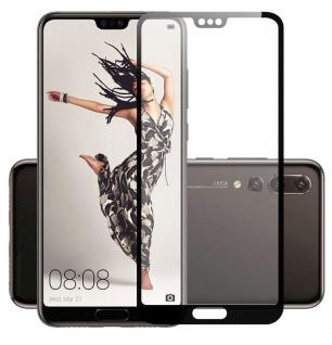 4D Premium 0, 3 mm H9 Hart Glas Schwarz Folie für Huawei P20 Lite Schutz Hülle