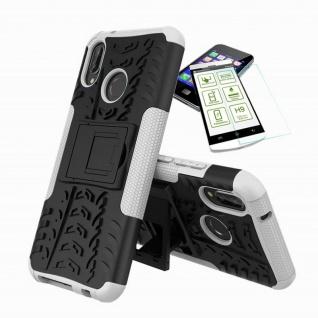 Für Huawei P20 Lite Hybrid Tasche Outdoor 2teilig Weiß Hülle + H9 Glas Hülle Neu
