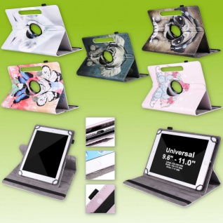 Für Samsung Tablet Motiv 360 Grad Rotation Tasche Kunst-Leder Hülle Etuis Cover