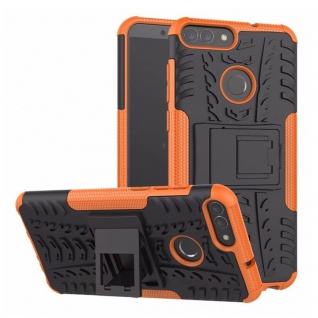 Für Huawei P Smart Hybrid Case 2teilig Outdoor Orange Etui Tasche Hülle Cover