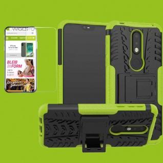 Für Nokia 7.1 5.84 Zoll Hybrid Tasche Outdoor 2teilig Grün Hülle + H9 Glas Cover