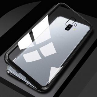 Für Samsung Galaxy J4 Plus J415F Magnet Metall Glas Transparent Schwarz Tasche
