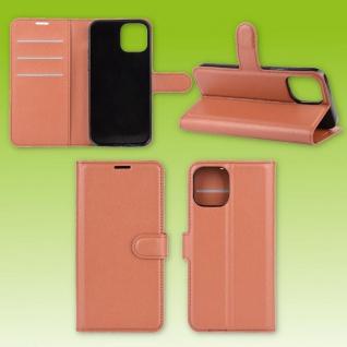 Für Apple iPhone 12 Mini Handy Tasche Wallet Braun Etuis Kunst-Leder Hülle Case