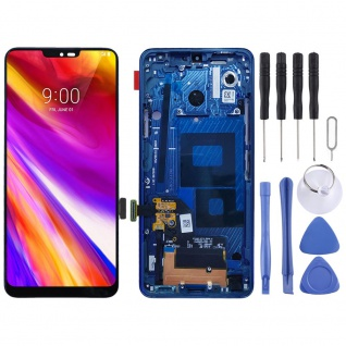 Für LG G7 ThinQ Display Full LCD Touch mit Rahmen Reparatur Blau Ersatz Teil Neu