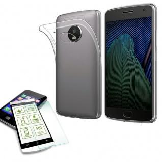 Silikoncase Transparent Tasche + H9 Panzerglas für Motorola Moto G5S Plus Hülle