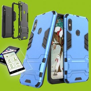 Für Samsung Galaxy A7 A750F Tasche Metal Hybrid Hülle Hellblau + 0, 26 H9 Glas