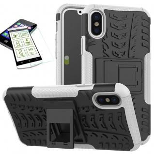 Für Apple iPhone XR 6.1 Hybrid Case 2teilig Weiß + Hart Glas Tasche Hülle Cover