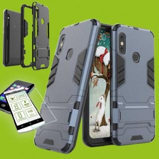 Für Samsung Galaxy A7 A750F Tasche Metal Style Hybrid Hülle Blau + 0, 26 H9 Glas