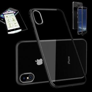 Für Apple iPhone X / XS 5.8 Magnet Glas Tasche Schwarz / Transparent + H9 Glas