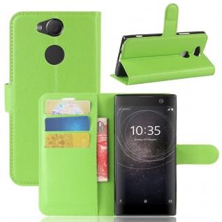 Tasche Wallet Premium Grün für Sony Xperia XA2 Hülle Case Cover Schutz Etui Neu