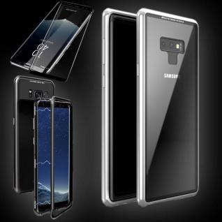 Für Samsung Galaxy S9 Magnet Tasche Silber / Transparent + 0, 3 4D H9 Glas Hülle
