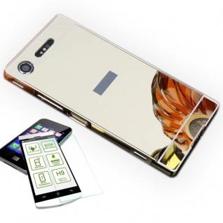 Alu Bumper 2 teilig Gold + 0, 3 H9 Hartglas für Sony Xperia XZ1 Compact / Mini