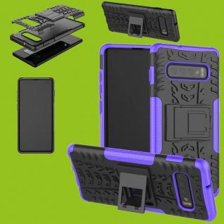 Für Samsung Galaxy Galaxy S10 G973F 6.1 Hybrid 2teilig Outdoor Lila Tasche Cover
