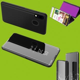 Für Huawei Y5 2019 Clear View Smart Cover Schwarz Tasche Hülle Wake UP Etuis Meu