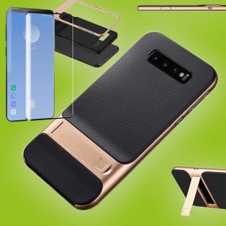 Standing Hybrid Tasche Gold Etui für Samsung Galaxy S10 Plus + 4D H9 Curved Glas