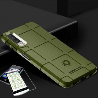 Für Samsung Galaxy A9 A920F Tasche Shield TPU Silikon Hülle Grün + H9 Glas Case