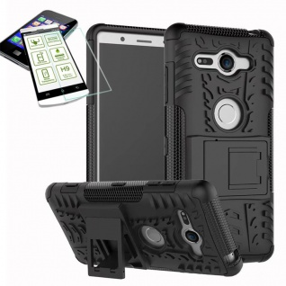 Hybrid Case 2 teilig Schwarz für Sony Xperia XZ2 Compact + 0, 26 H9 Glas Tasche