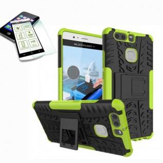 Hybrid Case Tasche Outdoor 2teilig Grün für Huawei P9 + H9 Hartglas Cover Etui