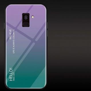 Für Samsung Galaxy J4 Plus J415F Color Effekt Glas Cover Lila Tasche Hülle Case