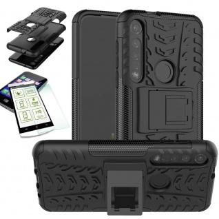 Für Motorola Moto G8 Plus Hybrid Handy Tasche Outdoor 2teilig Schwarz + H9 Glas