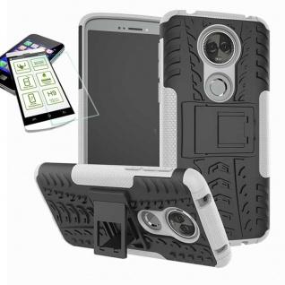 Für Motorola Moto E5 Plus Hybrid Tasche Outdoor 2teilig Weiß Hülle + H9 Glas Neu