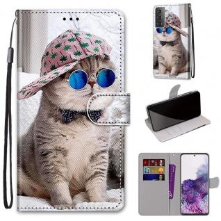 Für Samsung Galaxy S21 Plus 5G Kunst-Leder Handy Tasche Motiv 4 Hülle Etui Cover