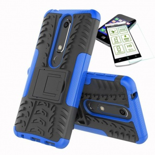Für Nokia 6 5.5 2018 Hybrid Tasche Outdoor 2teilig Blau Hülle + H9 Glas Case Neu