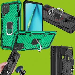 Für Huawei P40 Lite Hybrid Case Metall Armor Grün Ring Handy Tasche Schutz Cover