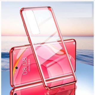 Beidseitige Magnet Glas Bumper Handy Tasche Rot für Samsung Galaxy S21 Plus Case