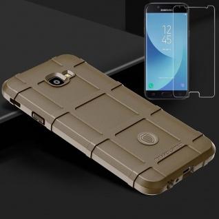 Für Samsung Galaxy J4 Plus J415F Tasche Shield Silikon Hülle Braun + H9 Glas
