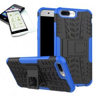 Hybrid Case Tasche Outdoor 2teilig Blau für ONEPlus 5 Hülle + Hartglas Etui