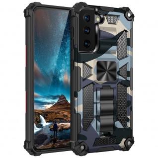 Für Samsung Galaxy S21 Camouflage Shockproof Armor TPU Tasche Hülle Blau