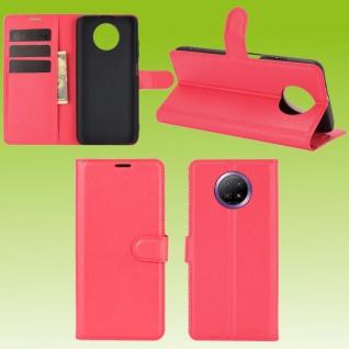 Für Xiaomi Redmi Note 9T 5G Handy Tasche Rot Etuis Kunst-Leder Cover Hülle Case