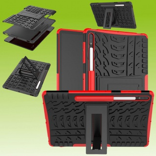 Für Samsung Galaxy Tab S7 T870 / T875 Hybrid Rot Tablet Tasche Etuis Hülle Case