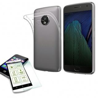 Silikoncase Transparent Tasche + H9 Hartglas für Motorola Moto G5S Plus Hülle