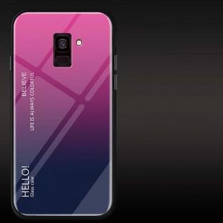 Für Samsung Galaxy J4 Plus J415F Color Effekt Glas Cover Pink Tasche Hülle Case