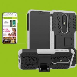 Für Nokia 7.1 5.84 Zoll Hybrid Tasche Outdoor 2teilig Weiß Hülle + H9 Glas Cover