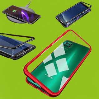 Für Huawei P40 Lite Magnet Metall Glas Rot Handy Tasche Hülle Case Cover Schutz
